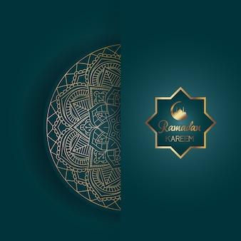 Decoratieve ramadan kareem-achtergrond met mandalaontwerp