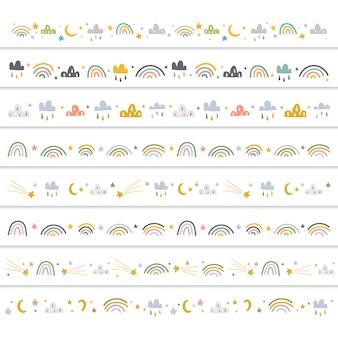 Decoratieve randen met doodle-illustraties voor baby's