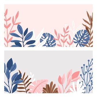 Decoratieve randen set van takken en bladeren.