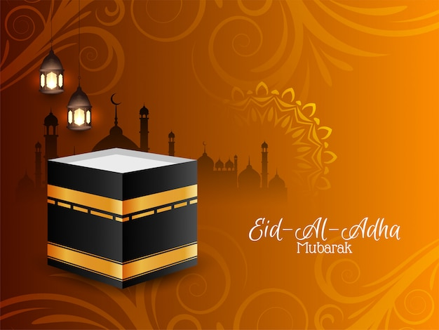 Decoratieve religieuze eid-al-adha mubarak achtergrond