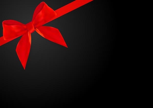 Decoratieve rode boog met rood lint op zwarte 3d realistisch