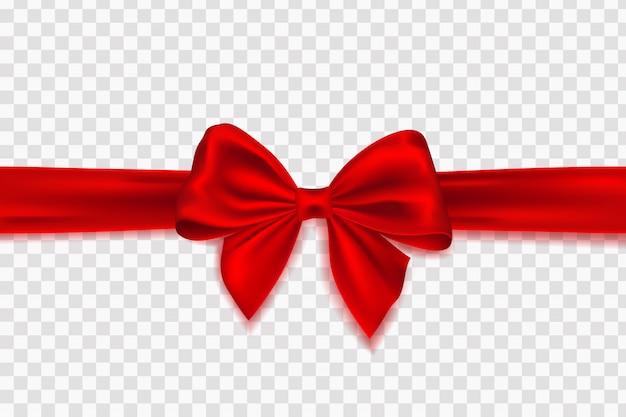 Decoratieve rode strik met horizontale rood lint voor cadeau decor. strik met linten