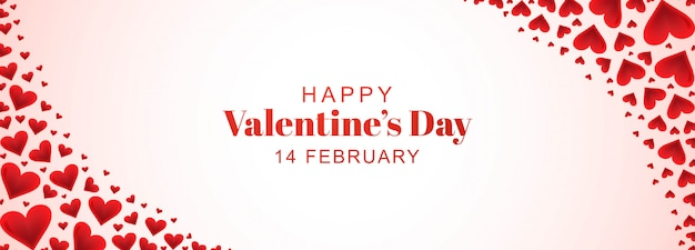 Decoratieve romantische valentijnskaartharten in banner