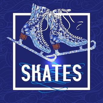 Decoratieve schaatsen doodle stijl