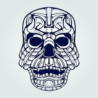 Decoratieve schedel gezicht lijntekeningen met tanden