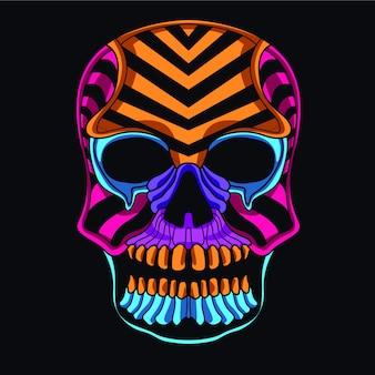 Decoratieve schedel in gloed neonkleur