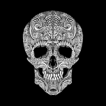 Decoratieve schedel op zwarte achtergrond