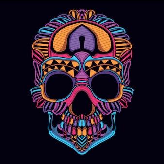 Decoratieve schedel van neonkleur