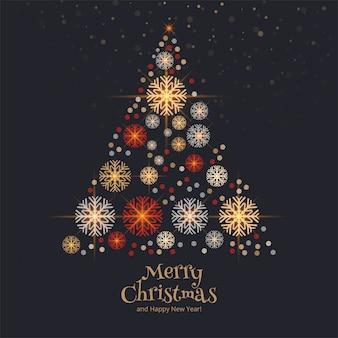 Decoratieve sneeuwvlokken kerstboom kaart achtergrond