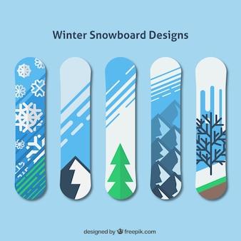 Decoratieve snowboards met de winter ontwerpen