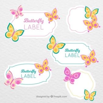 Decoratieve stickers met vlinders in vintage stijl