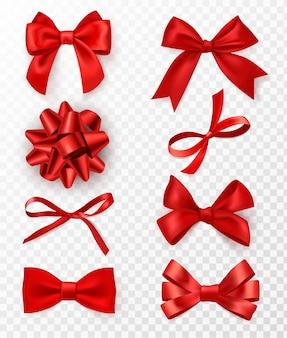 Decoratieve strikken. realistische rode zijden linten met strik feestelijk decor satijnen roos, luxe elementen voor vakantie verpakking en design, elegante cadeau tape 3d-vector set geïsoleerd op transparante achtergrond