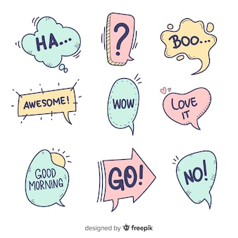 Decoratieve tekstballonnen met verschillende uitdrukkingen