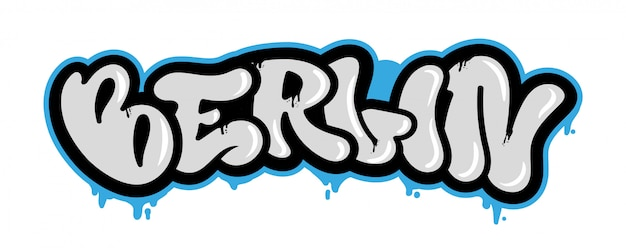 Decoratieve toeristen vandaal belettering met beroemde stad berlijn in graffiti-bombardementen stijl op de muur met behulp van spuitbus verf. street style type belettering voor poster cover print wasknijper patch sticker