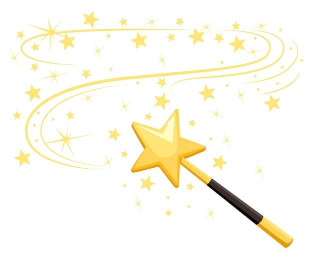 Decoratieve toverstaf met een magisch spoor. magisch accessoire in stervorm. magische meisje cartoon kracht. illustratie op witte achtergrond. website-pagina en mobiele app