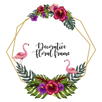 Decoratieve tropische bloemen frame ornament met flamingo