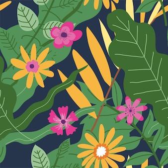 Decoratieve tropische of exotische bloesem van planten. bloeiende bloemen met weelderige bladeren, subtropisch klimaat voor koninklijke varens en bloeiende planten. botanische achtergrond. naadloos patroon, vector in flat