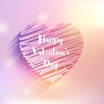 Decoratieve valentines day achtergrond met krabbel hart ontwerp