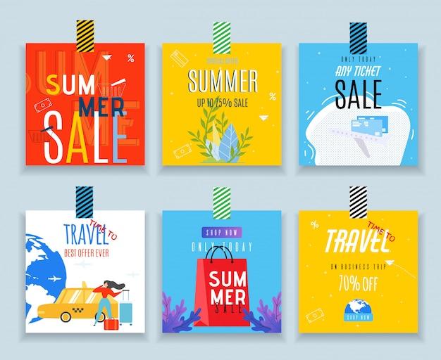 Decoratieve verkooplabels voor winkelen en reisset Premium Vector