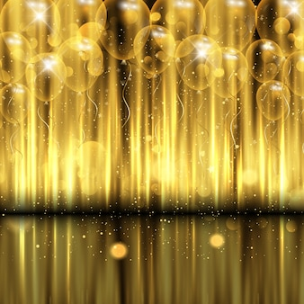 Decoratieve vieringsachtergrond met gouden ballons