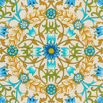 Decoratieve vintage bloem ornament naadloze patroon achtergrond