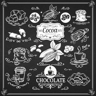 Decoratieve vintage cacaopictogrammen
