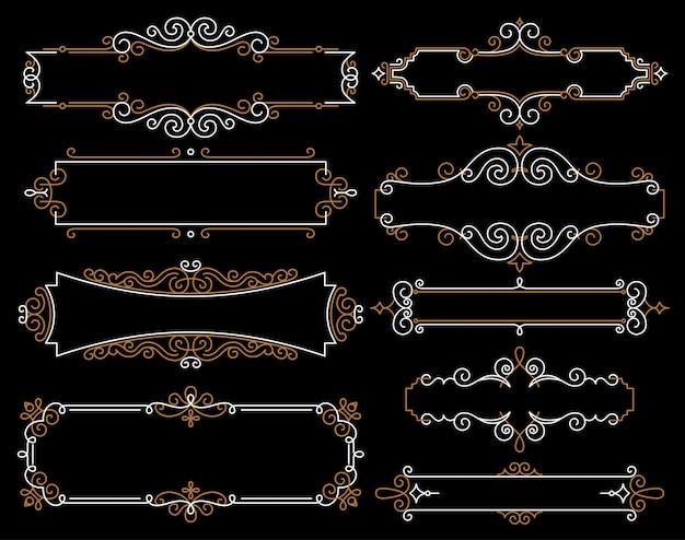 Decoratieve vintage frames in mono lijnstijl