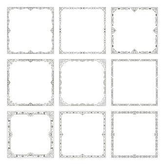Decoratieve vintage frames instellen.