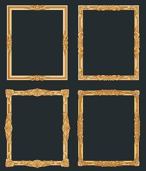 Decoratieve vintage gouden frames. oude glanzende luxe gouden randen.