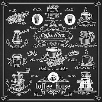Decoratieve vintage koffie iconen