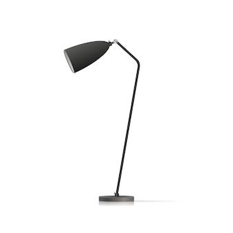 Decoratieve vloerlamp. origineel model met zwarte lampenkap en metalen poot. illustratie op een witte achtergrond.