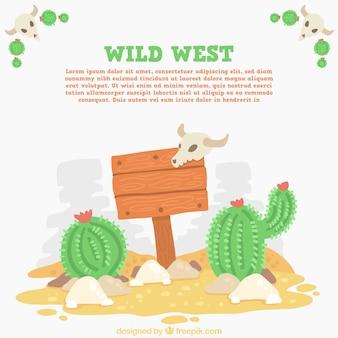 Decoratieve wilde westen achtergrond met cactus en teken