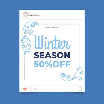 Decoratieve winter instagram postsjabloon