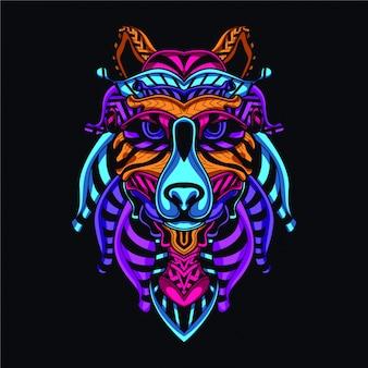 Decoratieve wolf in gloed neon kleur