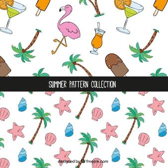 Decoratieve zomerpatronen met handgetekende items