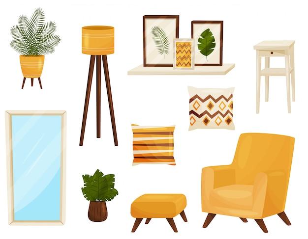Decorelementen voor woonkamer. meubilair concept.