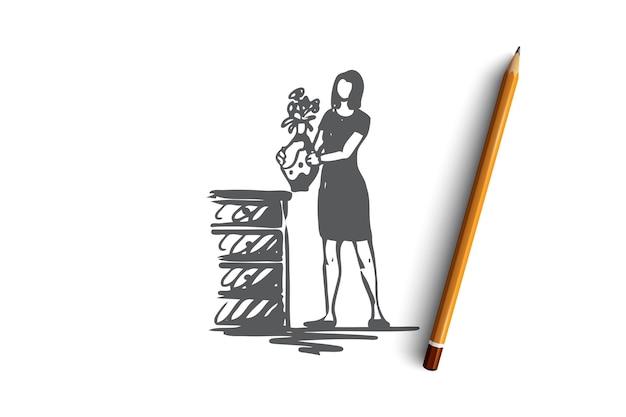 Decoreren, bloemen, vrouw, huis, gezellig concept. hand getekende vrouw met bloemen in vaas concept schets. illustratie.