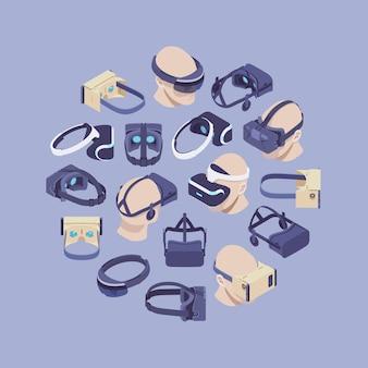 Decorontwerp gemaakt van isometrische virtual reality-headsets
