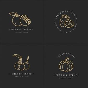 Decorontwerp gouden sjablonen logo en emblemen - siropen en toppings-sinaasappel, kers, aardbei en pompoen. voedsel pictogram. logo's in trendy lineaire stijl geïsoleerd op een witte achtergrond.