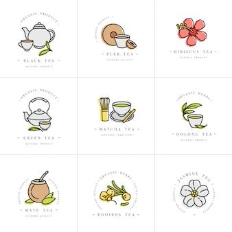 Decorontwerp kleurrijke sjablonen logo en emblemen - biologische kruiden en thee. verschillende theeën pictogram. logo's in trendy lineaire stijl geïsoleerd op een witte achtergrond.