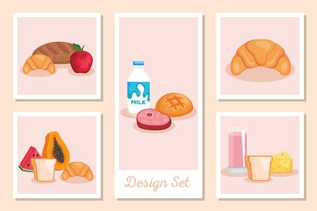 Decorontwerpen van gezond voedsel