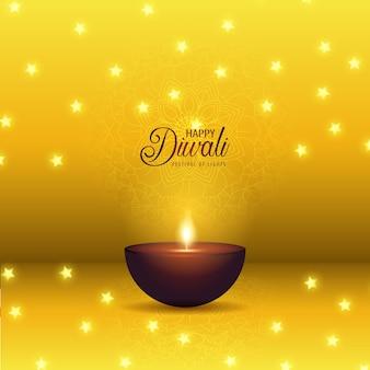 Deecorative diwali-achtergrond met olielamp en sterren