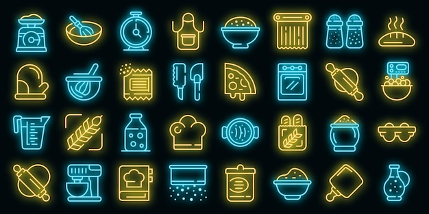 Deeg pictogrammen instellen. overzicht set deeg vector iconen neon kleur op zwart