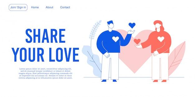 Deel de bestemmingspagina voor het ontwikkelen van liefdesrelaties