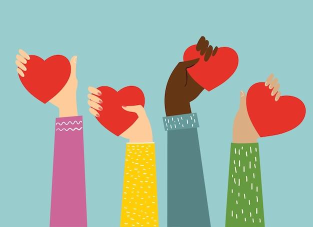 Deel je liefde. handen met hartjes als liefdesmassages.
