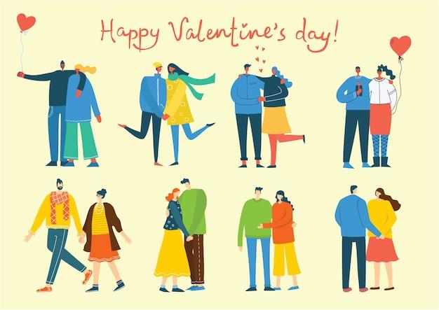 Deel je liefde. mensen met een hart als liefdesmassage. illustratie voor valentijnsdag in de vlakke stijl