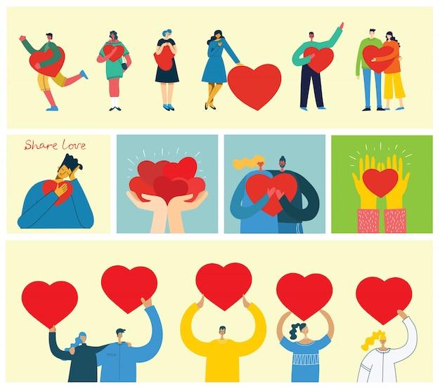 Deel je liefde. mensen met harten als liefdesmassages. vectorillustratie voor valentijnsdag in de moderne vlakke stijl