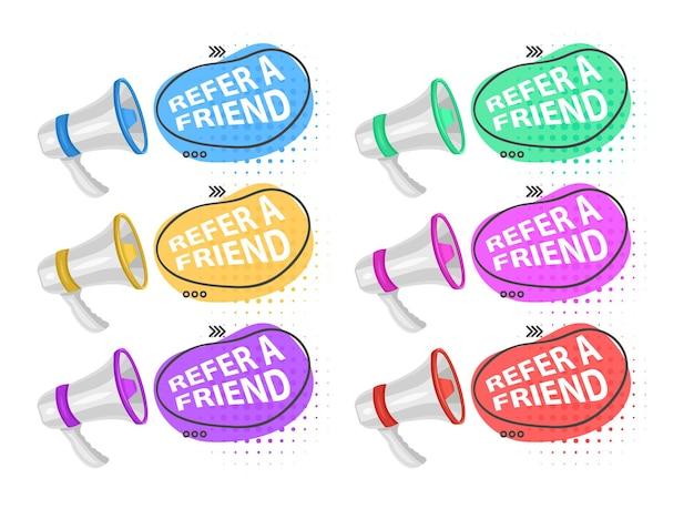 Deel media-informatie verwijs vriend luidspreker geïsoleerd pictogram programma of app-informatie