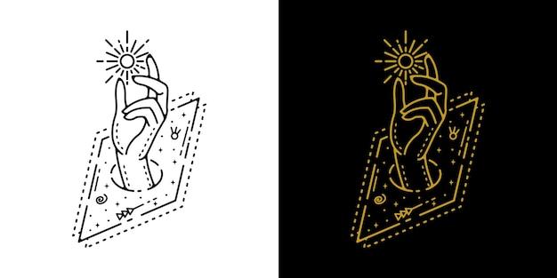 Deel uit van square en vang het monoline-ontwerp van de maantatoegering