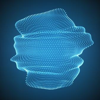 Deeltjes die een abstracte vorm maken